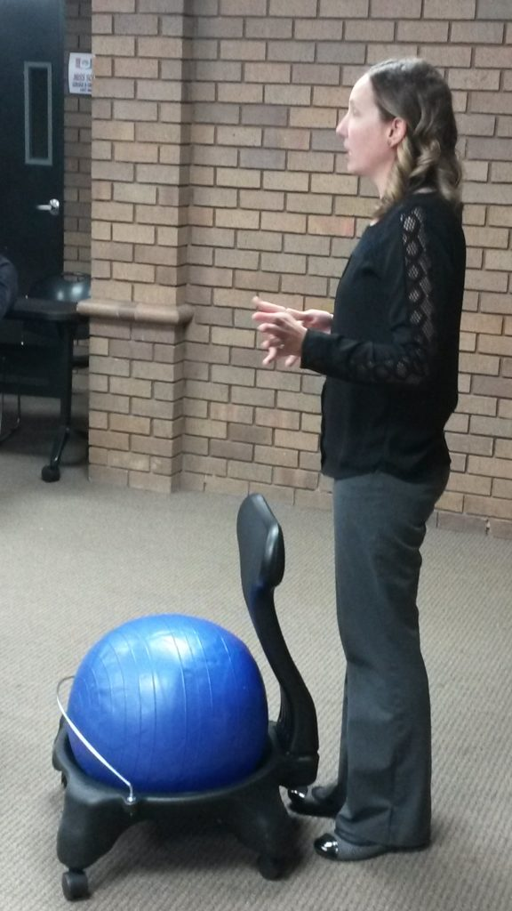 Sam Missey talking about her ball chairs.